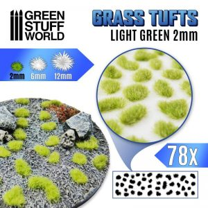 Green Stuff World   Tufts Grass TUFTS - 2mm self-adhesive - Light Green - 8435646504780ES -