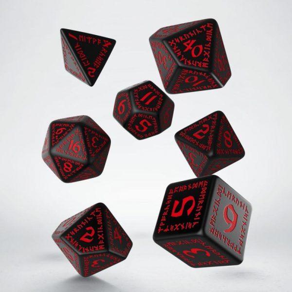 Q-Workshop   Q-Workshop Dice Runic Black & red Dice Set (7) - SRUN06 - 5907814951038