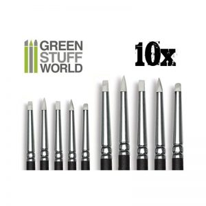 Green Stuff World   Green Stuff World Tools Colour Shapers Brushes  COMBO 0 and 2 - WHITE SOFT - 8436554365081ES - 8436554365081