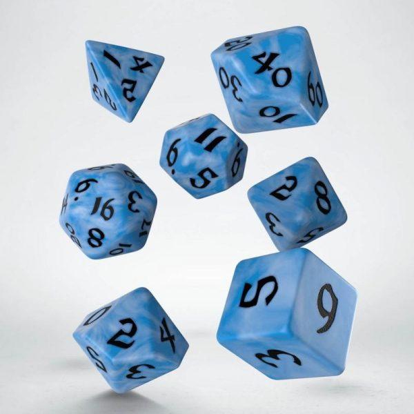Q-Workshop   RPG / Polyhedral Classic Runic Glacier & black Dice Set (7) - SCLR2C - 5907699494194