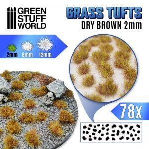 Green Stuff World   Tufts Grass TUFTS - 2mm self-adhesive - Dry Brown - 8435646504803ES -