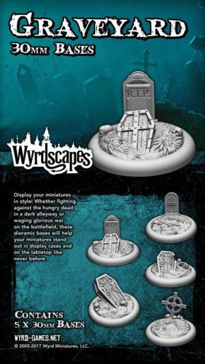 Wyrd   Graveyard Wyrdscapes Graveyard 30mm Bases - 5 Pack - WYRWS007 - 813856018576