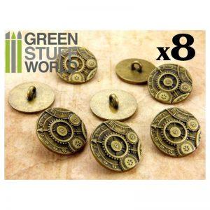 Green Stuff World   Costume & Cosplay 8x Steampunk Buttons GEARS MECHANISM - Antique Gold - 8436554365968ES - 8436554365968