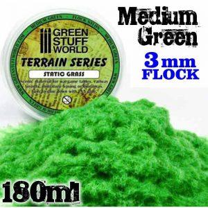 Green Stuff World   Sand & Flock Static Grass Flock 3 mm - Medium Green - 180 ml - 8436554365654ES - 8436554365654