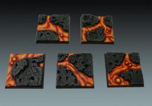 Baker Bases   Lava Lava: 40mm Square Bases (5) - CB-LV-02-40M - CB-LV-02-40M