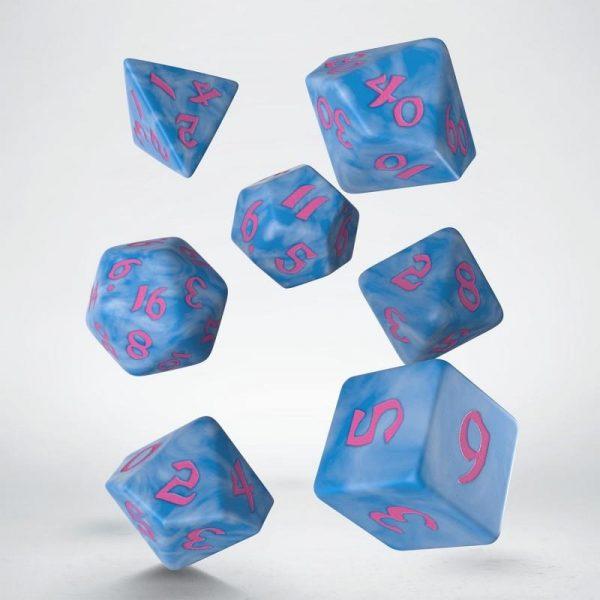 Q-Workshop   RPG / Polyhedral Classic Runic Glacier & pink Dice Set (7) - SCLR2G - 5907699494156