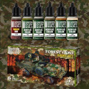 Green Stuff World   Acrylic Paints Paint Set - Forest Camo - 8436574507720ES - 8436574507720