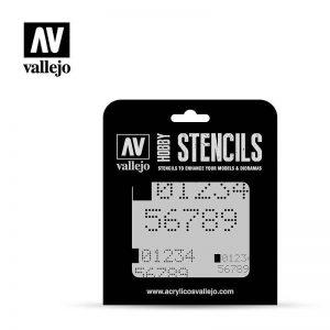 Vallejo   Stencils AV Vallejo Stencils - Digital Numbers - VALST-SF004 - 8429551986595
