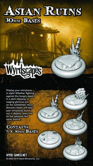 Wyrd   Asian Ruins Wyrdscapes Asian Ruins 30mm Bases - 5 Pack - WYRWS010 - 813856018736