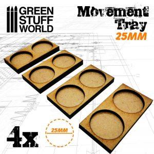 Green Stuff World   Movement Trays MDF Movement Trays 25mm 2x1 - Skirmish Lines - 8436574502848ES - 8436574502848