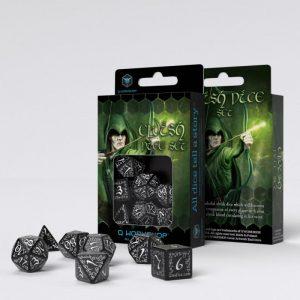 Q-Workshop   Q-Workshop Dice Elvish Black & white Dice Set (7) - SELV05 - 5907814951175