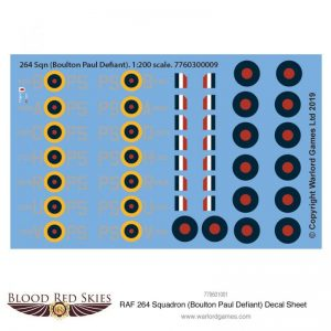 Warlord Games (Direct) Blood Red Skies  Blood Red Skies 264 Sqn (Boulton Paul Defiant) decal sheet - 7760300009 - 7760300009