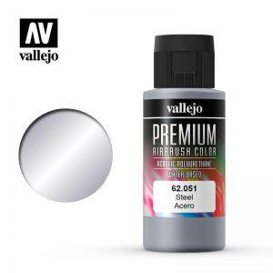 Vallejo   Premium Airbrush Colour Premium Color 60ml: Steel - VAL62051 -
