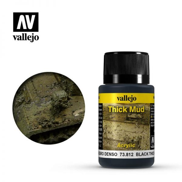 Vallejo   Weathering Effects Weathering Effects 40ml - Black Thick Mud - VAL73812 - 8429551738125