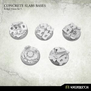 Kromlech   Concrete Slabs Bases Concrete Slabs Round 32mm Set 5 (5) - KRRB049 -