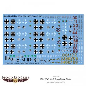 Warlord Games (Direct) Blood Red Skies  Blood Red Skies Blood Red Skies: JG54 (Fw 190D Dora) decal sheet - 779602005 - 779602005