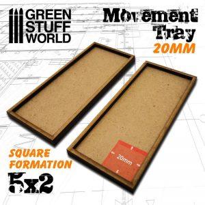 Green Stuff World   Movement Trays MDF Movement Trays 20mm 5x2 - 8436574502909ES - 8436574502909