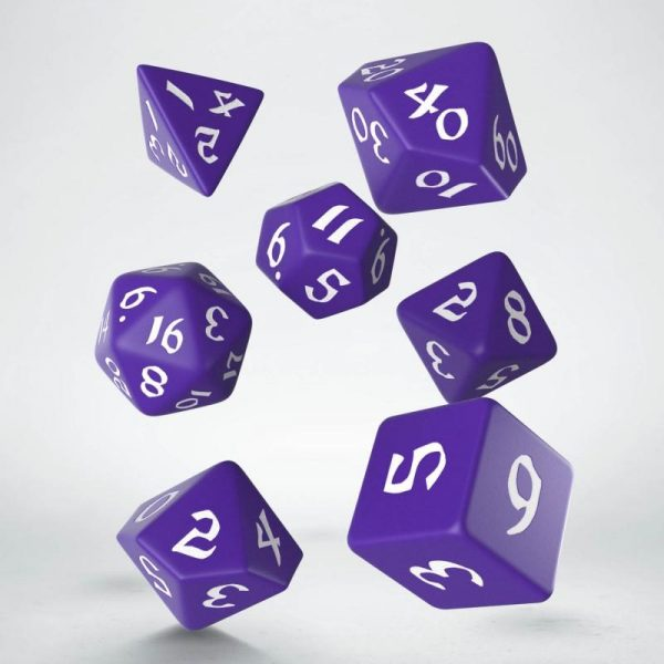 Q-Workshop   RPG / Polyhedral Classic Runic Purple & white Dice Set (7) - SCLR2B - 5907699494231