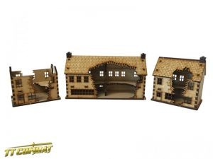 TTCombat   World War Scenics Ruined Shops Set - WAR008 - 5060504042857