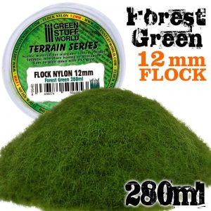 Green Stuff World   Sand & Flock Static Grass Flock 12mm - Forest Green - 280 ml - 8436574504453ES - 8436574504453