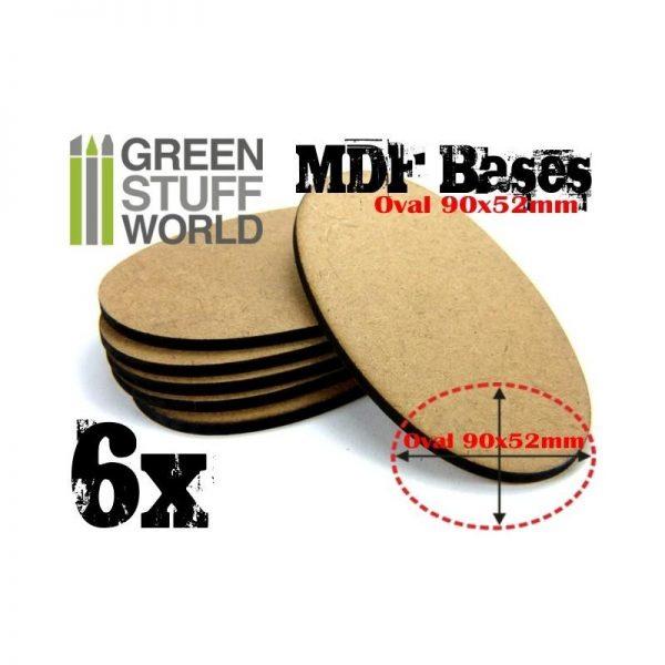 Green Stuff World   Plain Bases MDF Bases - AOS Oval 90x52mm - 8436554366989ES - 8436554366989