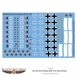 Warlord Games (Direct) Blood Red Skies  Blood Red Skies Blood Red Skies: ZG 26 Horst Wessel (Me 410) decal sheet - 779602003 - 779602003