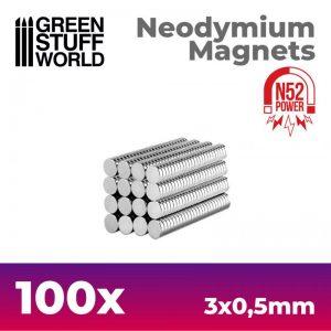 Green Stuff World   Magnets Neodymium Magnets 3x0.5mm - 100 units (N52) - 8436554367610ES - 8436554367610