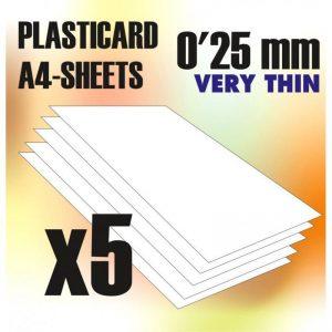 Green Stuff World   Plasticard ABS Plasticard A4 - 0'25 mm COMBOx5 sheets - 8436554368167ES - 8436554368167