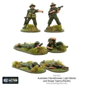 Warlord Games Bolt Action  Australia (BA) Australian flamethrower, light mortar and sniper teams (Pacific) - 403015015 - 5060393707455