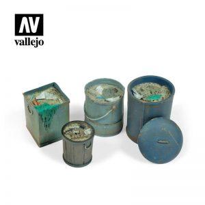 Vallejo   Vallejo Scenics Vallejo Scenics - 1:35 Assorted Garbage Bins 2 - VALSC213 - 8429551984836