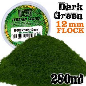 Green Stuff World   Sand & Flock Static Grass Flock 12mm - Dark Green - 280 ml - 8436574504460ES - 8436574504460