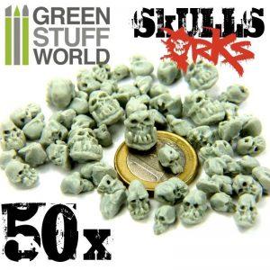 Green Stuff World   Green Stuff World Conversion Parts 50x Resin ORK Skulls - 8436554363872ES - 8436554363872