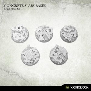 Kromlech   Concrete Slabs Bases Concrete Slabs Round 32mm Set 4 (5) - KRRB048 -