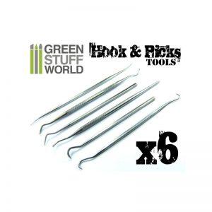Green Stuff World   Green Stuff World Tools 6x Hook and Pick Tool Set - 8436554362509ES - 8436554362509