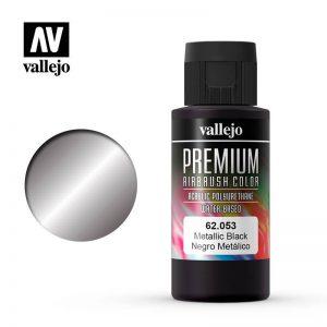 Vallejo   Premium Airbrush Colour Premium Color 60ml: Metallic Black - VAL62053 - 8429551620536