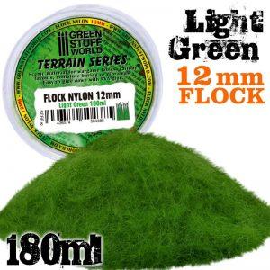 Green Stuff World   Sand & Flock Static Grass Flock 12mm - Light Green - 180 ml - 8436574504385ES - 8436574504385