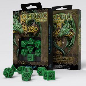 Q-Workshop   Q-Workshop Dice Celtic 3D Revised Green & black Dice Set (7) - SCER15 - 5907699491865