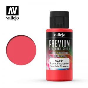 Vallejo   Premium Airbrush Colour Premium Color 60ml: Scarlet Fluorescent - VAL62034 - 8429551620345