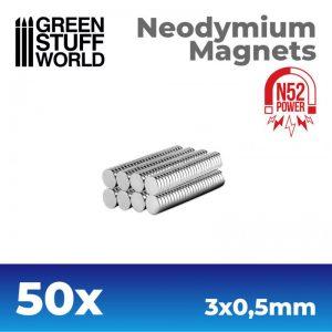 Green Stuff World   Magnets Neodymium Magnets 3x0.5mm - 50 units (N52) - 8436554367573ES - 8436554367573