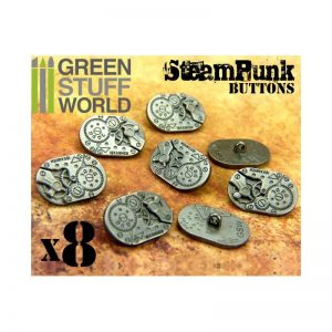 Green Stuff World   Costume & Cosplay 8x Steampunk Oval Buttons WATCH MOVEMENTS - Silver - 8436554367412ES - 8436554367412