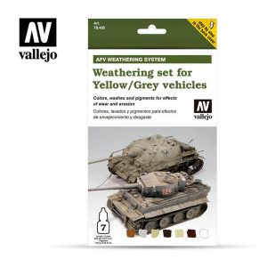 Vallejo   Weathering Effects AV Armour Set - AFV Weathering For Yellow & Grey Vehicles - VAL78405 - 8429551784054