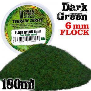 Green Stuff World   Sand & Flock Static Grass Flock 6 mm - Dark Green - 180 ml - 8436574508000 -