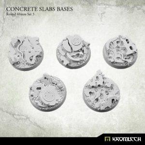 Kromlech   Concrete Slabs Bases Concrete Slabs Round 40mm Set 3 (5) - KRRB054 -