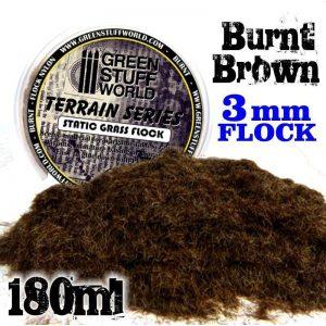 Green Stuff World   Sand & Flock Static Grass Flock 3 mm - BURNT Brown - 180 ml - 8436554368419ES - 8436554368419
