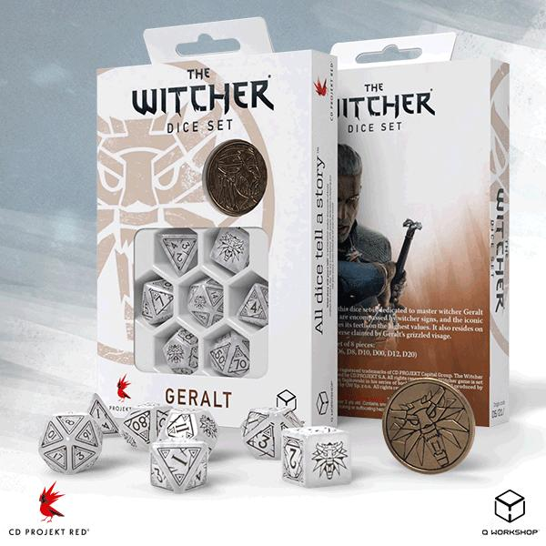 Q-Workshop   The Witcher Dice The Witcher Dice Set: Geralt - The White Wolf - SWGE3T - 5907699496105