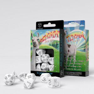 Q-Workshop   RPG / Polyhedral Bright Llama Dice Set (White & black) - SLLA02 - 5907699495894