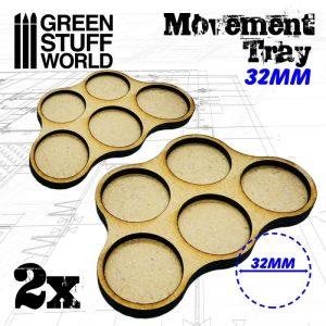 Green Stuff World   Movement Trays MDF Movement Trays 32mm x5 - Skirmish - 8436574502817ES - 8436574502817