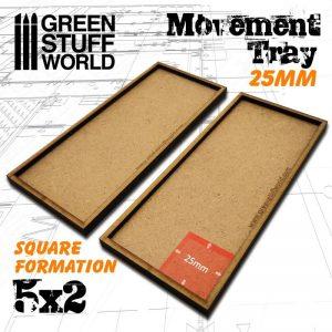 Green Stuff World   Movement Trays MDF Movement Trays 25mm 5x2 - 8436574502923ES - 8436574502923