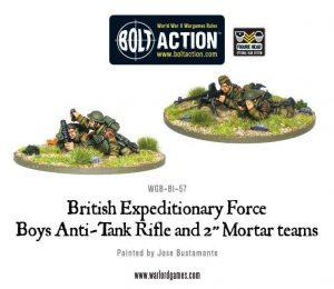"Warlord Games Bolt Action  Great Britain (BA) BEF anti-tank rifle and 2"" light mortar teams - WGB-BI-57 - 5060200845042"