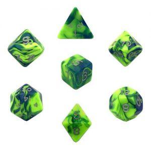 Gamescraft   Toxic Toxic Slime Dice Green/Blue Bag of 10 D20 (1-20) - GC78126 - GC78126